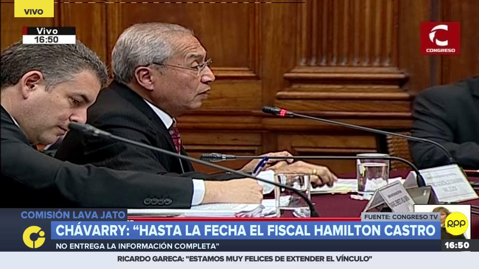 Fiscal de la Nación, Pedro Chávarry, ante la comisión Lava Jato en el Congreso.