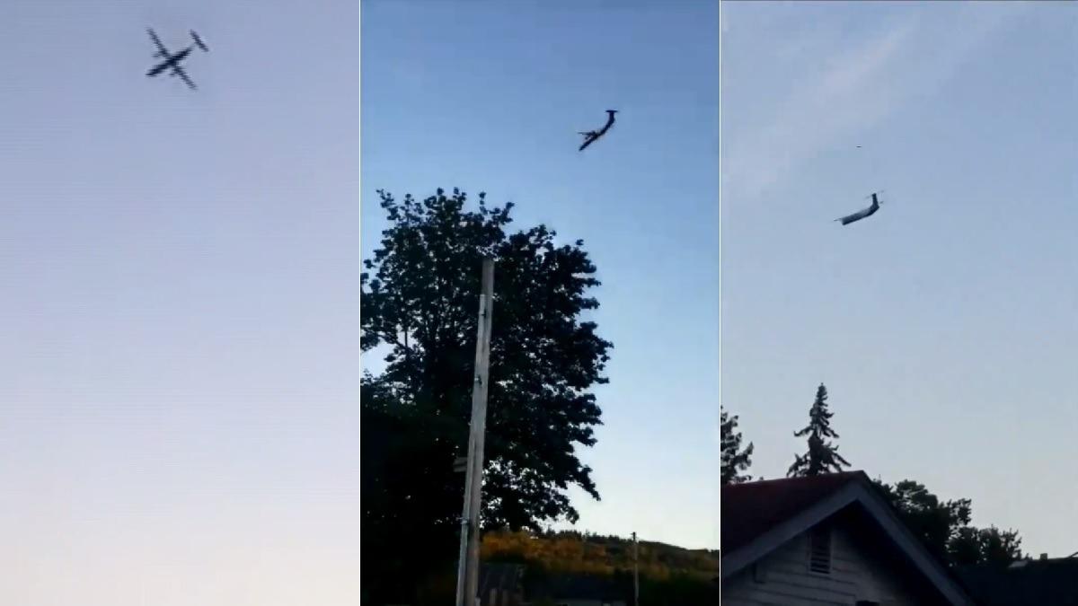 Ciudadanos grabaron imágenes del avión minutos antes de que se estrelle.