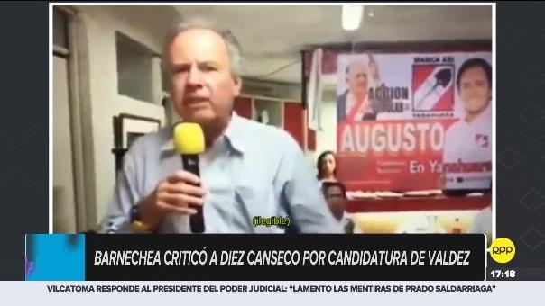 El excandidato a la presidencia, Alfredo Barnechea, criticó a líder de Acción Popular por un postulante a Pucallpa.