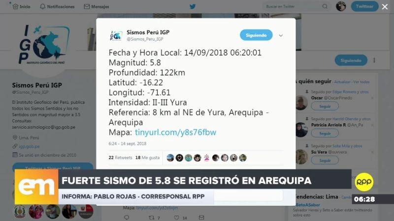 El sismo fue sentido a las 6:20 de la mañana, según reportó el IGP.